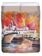 Calpe Harbour Spain Duvet Cover