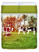 Calves In Spring Field Duvet Cover