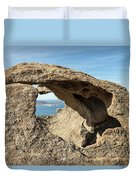 Calvi In Corsica Viewed Through A Hole In A Rock Duvet Cover