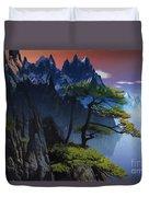 Calypso Mountains Oil On Canvas Duvet Cover