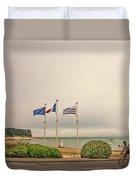 Camaret Sur Mer, Brittany, France, Bicyclist Duvet Cover