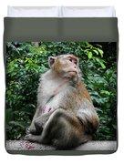 Cambodia Monkeys 2 Duvet Cover