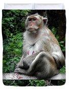 Cambodia Monkeys 3 Duvet Cover