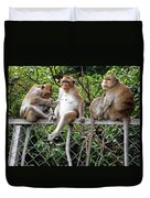 Cambodia Monkeys 7 Duvet Cover