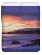 Cambria Coastline With Purple Sunset Colors Duvet Cover