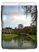 Cambridge Clare College Stream Boat And Boys Duvet Cover