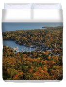 Camden Harbor In The Fall Duvet Cover