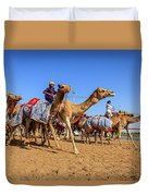 Camel Racing In Dubai Duvet Cover