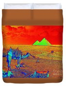 Camels At Giza Duvet Cover