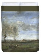 Camille Corot   A Wagon In The Plains Of Artois Duvet Cover