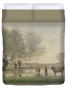 Camille Corot   Cows In A Marshy Landscape Duvet Cover