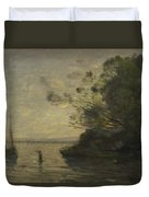 Camille Corot   Evening On The Lake Duvet Cover