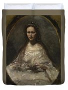 Camille Corot   Sketch Of A Woman In Bridal Dress Duvet Cover