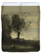 Camille Corot   The Wood Gatherer Duvet Cover