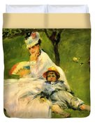 Camille Monet And Her Son Jean In The Garden At Argenteuil 1874 Duvet Cover