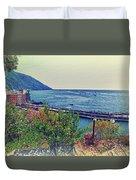Camogli, Panorama Of The Sea. Duvet Cover