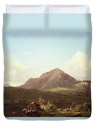 Camp Fire In The Maine Wilderness Duvet Cover