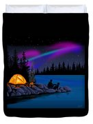 Camping With Dog Duvet Cover