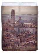 Campanile And Cathedral In Siena Italy Antique Matte Duvet Cover
