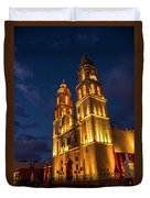 Campeche Cathedral At Evening Duvet Cover