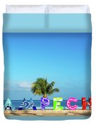 Campeche Sign And Sea View Duvet Cover