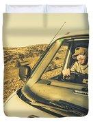 Camper Man On Adventure Duvet Cover