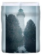 Cana Island Lighthouse Wisconsin Painterly Duvet Cover