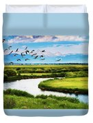 Canada Geese Entering Idaho's Teton Valley Duvet Cover
