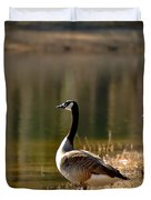 Canada Geese In Golden Sunlight Duvet Cover