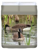 Canada Geese In Pond Duvet Cover