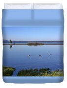 Canada Geese On Yellowstone Lake Duvet Cover