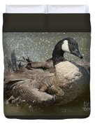 Canada Goose Bathing In Lake Duvet Cover