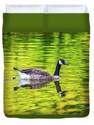 Canada Goose Swimming In A Pond Duvet Cover
