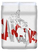 Canada Typographic Map Flag Duvet Cover