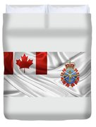 Canadian Armed Forces  -  C A F  Badge Over Flag Duvet Cover