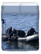 Canadian Divers Being Helped Aboard Duvet Cover