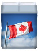 Canadian Flag Flying Proudly Duvet Cover