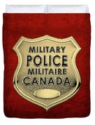 Canadian Forces Military Police C F M P  -  M P Officer Id Badge Over Red Velvet Duvet Cover