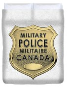 Canadian Forces Military Police C F M P  -  M P Officer Id Badge Over White Leather Duvet Cover