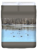 Canadian Geese In Flight Duvet Cover