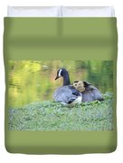 Canadian Goose Mother And Babies Duvet Cover