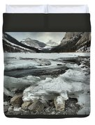 Canadian Rockies Rugged Winter Landscape Duvet Cover
