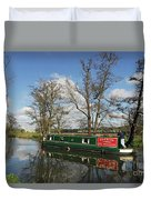 Canal Boat On Wey Navigations Duvet Cover