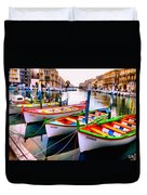 Canal Boats On A Canal In Venice L A S Duvet Cover
