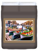 Canal Boats On A Canal In Venice L A S With Decorative Ornate Printed Frame.  Duvet Cover