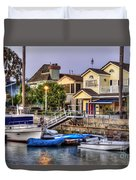Canal Houses And Boats Duvet Cover