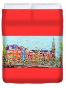 Canal Of Amsterdam, Bridge And Westerkerk Duvet Cover
