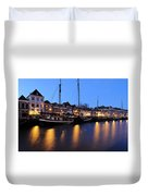Canal Thorbeckegracht In Zwolle In The Evening Duvet Cover