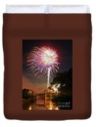 Canal View Of Fire Works Duvet Cover