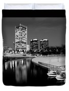 Canal Walk And Richmond Skyline In Black And White Duvet Cover